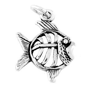 STERLING SILVER TROPICAL FISH CHARM/PENDANT