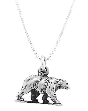 STERLING SILVER GRIZZLY BEAR CHARM WITH 16 inch BOX CHAIN NECKLACE