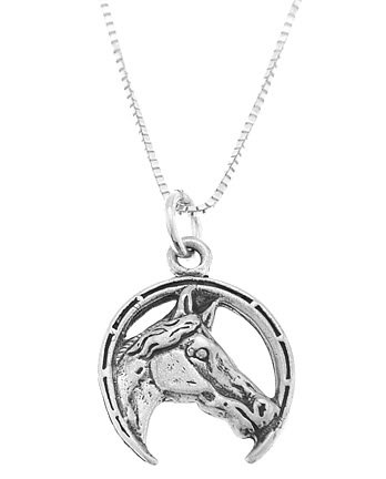 STERLING SILVER HORSE HEAD INSIDE THE HORSESHOE CHARM WITH 16 inch BOX CHAIN NECKLACE