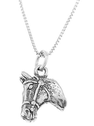 STERLING SILVER DOUBLE SIDED HORSE HEAD CHARM WITH 16 inch BOX CHAIN NECKLACE