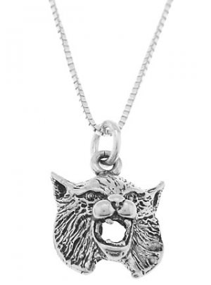 STERLING SILVER BOB CAT HEAD / BOBCAT HEAD CHARM WITH 16 inch BOX CHAIN NECKLACE