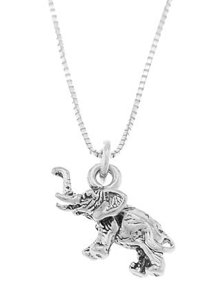 STERLING SILVER BABY ELEPHANT / LUCKY ELEPHANT CHARM WITH 16 inch BOX CHAIN NECKLACE