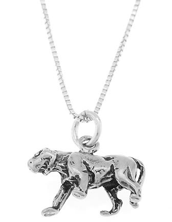 STERLING SILVER PROWLING PANTHER CHARM WITH 18 inch BOX CHAIN NECKLACE
