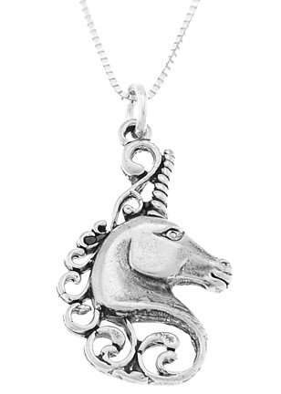 STERLING SILVER MYSTICAL UNICORN HEAD CHARM WITH 16 inch BOX CHAIN NECKLACE
