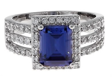 2.5 CT Imitation Tanzanite CZ Cocktail/ Engagement Ring Size 7