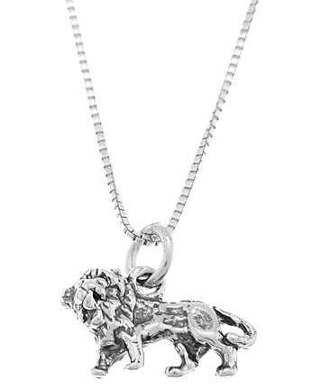 STERLING SILVER LION CHARM WITH 16 inch BOX CHAIN NECKLACE