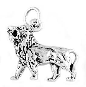 STERLING SILVER FEROCIOUS LION CHARM/PENDANT