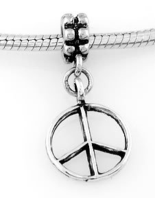 STERLING SILVER DANGLING PEACE SIGN EUROPEAN BEAD