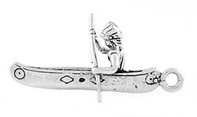 STERLING SILVER INDIAN IN A CANOE CHARM/PENDANT