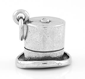 STERLING SILVER TOP HAT CHARM/PENDANT