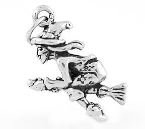 STERLING SILVER WITCH FLYING ON A BROOM CHARM/PENDANT