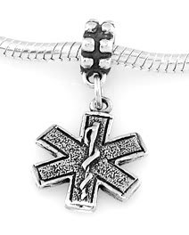 925 SILVER DANGLE PARAMEDIC MEDICAL CROSS EUROPEAN BEAD