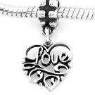 STERLING SILVER DANGLING LOVE IN HEART EUROPEAN BEAD