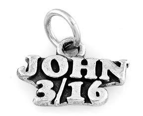 "STERLING SILVER JOHN 3:16 CHARM W/ 16"" BOX CHAIN"