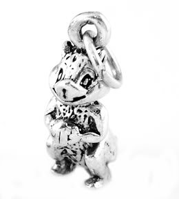 "STERLING SILVER CHIPMUNK HOLDING NUT CHARM WITH 16"" BOX CHAIN"
