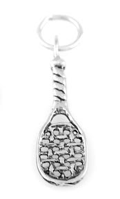 """STERLING SILVER RACKETBALL RACKET CHARM WITH 16"""" BOX CHAIN"""