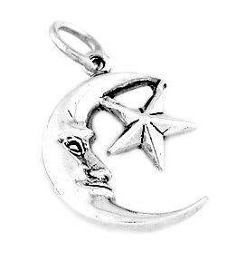 "STERLING SILVER MOON WITH STAR CHARM WITH 16"" BOX CHAIN"
