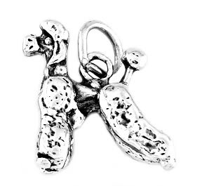 """STERLING SILVER POODLE CHARM WITH 16"""" BOX CHAIN"""