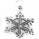 """STERLING SILVER LOVELY SNOWFLAKE CHARM W/ 16"""" BOX CHAIN"""