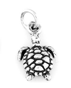"""STERLING SILVER SEA TURTLE CHARM WITH 16"""" BOX CHAIN"""