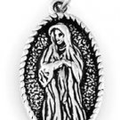 """STERLING SILVER OVAL VIRGIN MARY CHARM W/ 16"""" BOX CHAIN"""