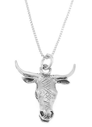STERLING SILVER BULL HEAD / BULLHEAD CHARM WITH 16 inch BOX CHAIN NECKLACE