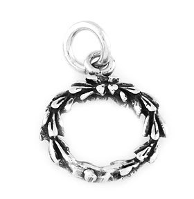 "STERLING SILVER HOLIDAY WREATH CHARM WITH 16"" BOX CHAIN"