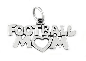 "STERLING SILVER FOOTBALL MOM CHARM WITH 16"" BOX CHAIN"