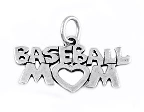 """STERLING SILVER BASEBALL MOM CHARM WITH 16"""" BOX CHAIN"""