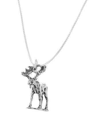 STERLING SILVER MOOSE ELK CHARM WITH 16 inch BOX CHAIN NECKLACE