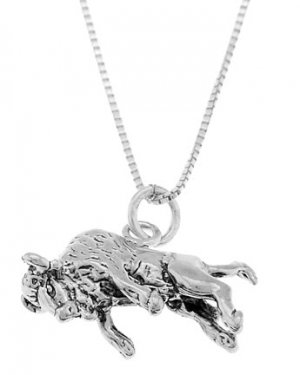 STERLING SILVER BUFFALO KICKING ON HIS BACK LEGS CHARM WITH 16 inch BOX CHAIN NECKLACE
