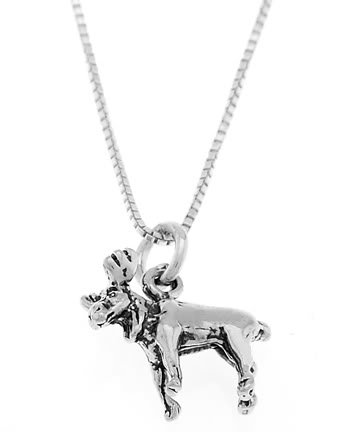 STERLING SILVER SMALL MOOSE CHARM WITH 16 INCH BOX CHAIN NECKLACE