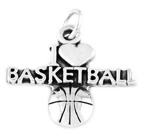 STERLING SILVER I LOVE BASKETBALL CHARM/PENDANT