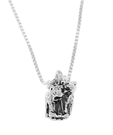 STERLING SILVER NOAH'S ARK TWO BY TWO BEARS CHARM WITH 16 inch BOX CHAIN NECKLACE