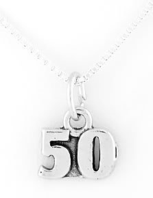 """STERLING SILVER 50 YEARS CHARM W/ 16"""" BOX CHAIN"""
