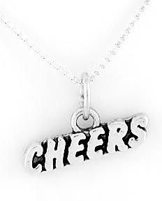"STERLING SILVER CHEERLEADER CHEERS CHEERS CHARM W/ 16"" BOX CHAIN"