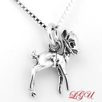 STERLING SILVER DEER CHARM and SILVER 16 inch box NECKLACE
