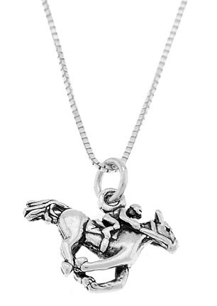 STERLING SILVER EQUESTRIAN JOCKEY AND HORSE CHARM WITH 16 inch BOX CHAIN NECKLACE