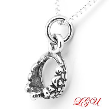 STERLING SILVER CROWN 3D CHARM WITH 16 inch box chain NECKLACE