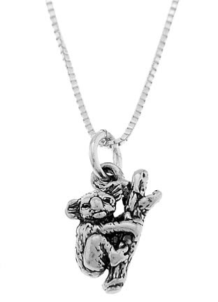 STERLING SILVER KOALA BEAR HANGING TO TREE BRANCH CHARM WITH 16 inch BOX CHAIN NECKLACE
