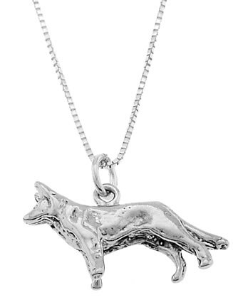 STERLING SILVER GERMAN SHEPHERD DOG CHARM WITH 16 inch BOX CHAIN NECKLACE