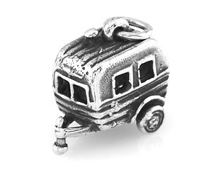 STERLING SILVER HITCHED RV VACATION TRAILER CHARM