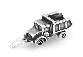 STERLING SILVER LARGE SOLID DUMP TRUCK CHARM