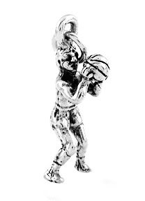 STERLING SILVER MALE BASKETBALL PLAYER SHOOTING CHARM