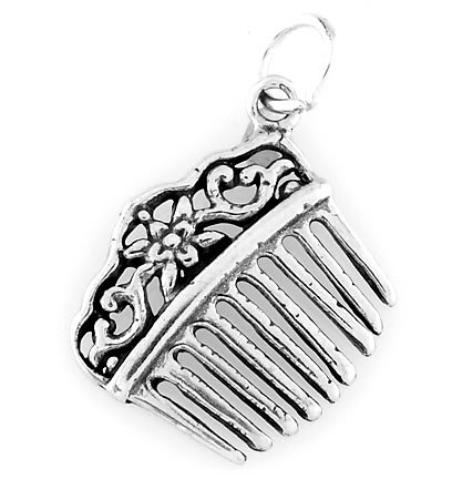 STERLING SILVER VICTORIAN STYLE HAIR COMB CHARM