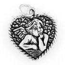 STERLING SILVER HEART BABY ANGEL / CHERUB CHARM
