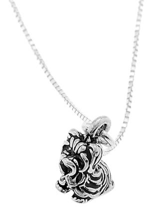 STERLING SILVER YORKIE DOG/ YORKSHIRE TERRIER DOG CHARM WITH 16 inch BOX CHAIN NECKLACE