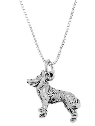 STERLING SILVER HUSKY DOG / SLED DOG CHARM WITH 16 inch BOX CHAIN NECKLACE