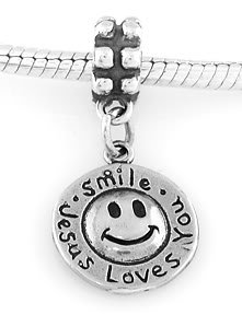 STERLING SILVER DANGLE SMILE JESUS LOVES YOU EUROPEAN BEAD