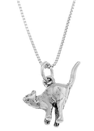 STERLING SILVER SCARED ALLEY CAT / TAIL UP CAT CHARM WITH 16 inch BOX CHAIN NECKLACE